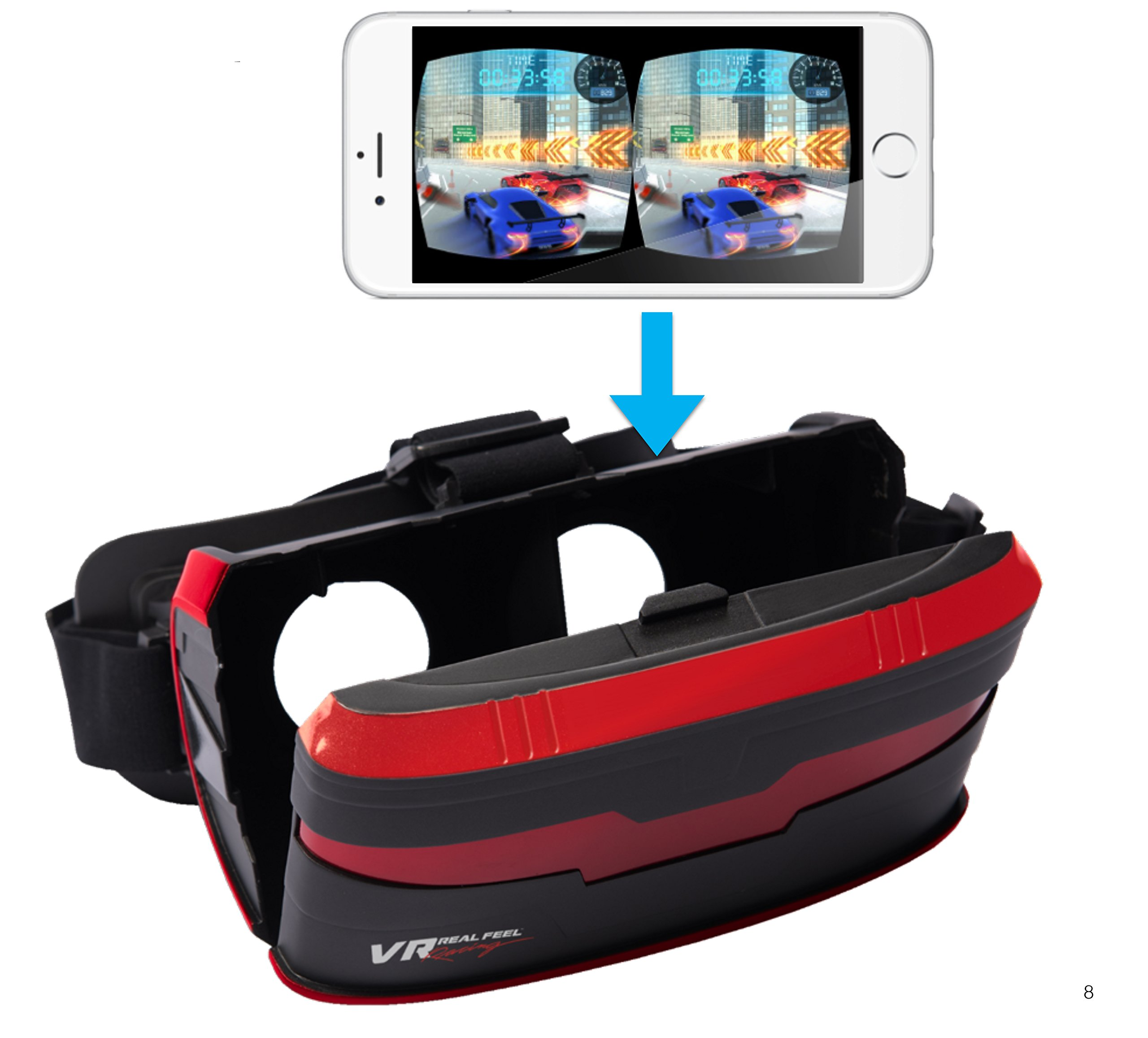 VR Real Feel Virtual Reality Car Racing Gaming System with Bluetooth Steering Wheel and Headset Goggles Viewer Glasses for iOS iPhone and Android by VR Entertainment (Image #3)
