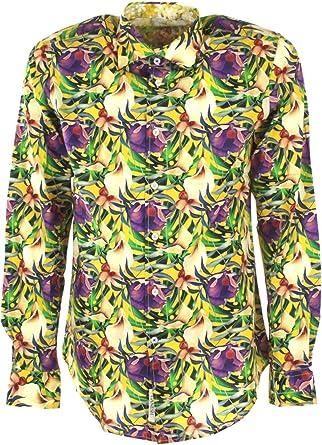 Ganesh Hombres Camisa Floral de algodón Amarillo M: Amazon.es ...