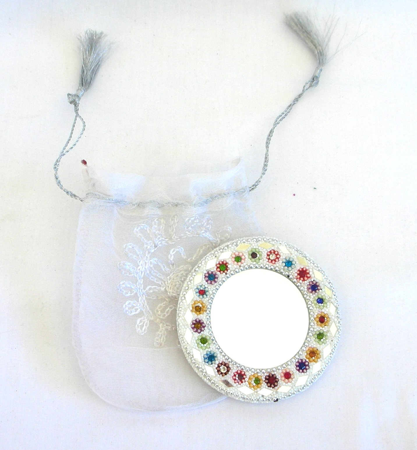 Handmade White Compact Mirror with Beads in a Gift Bag