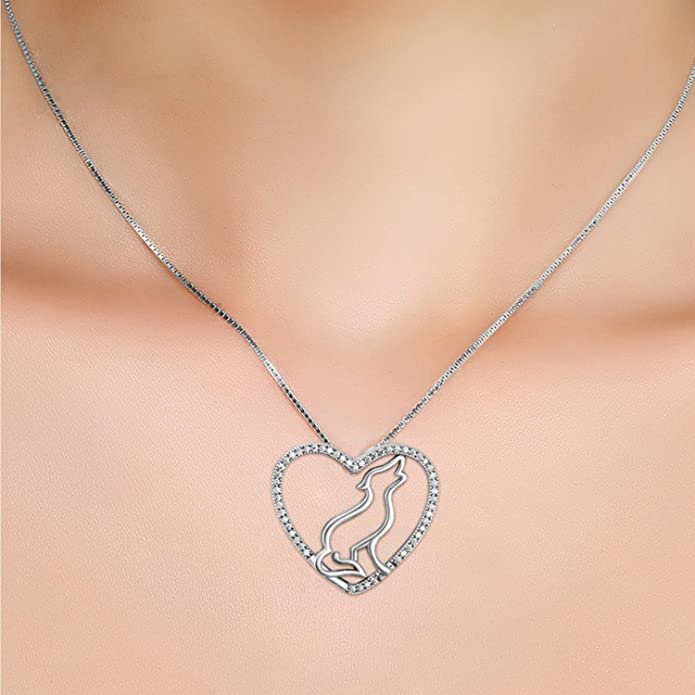 CS-DB Classic Wolf Love Heart Crystal Top Stylish Silver Necklaces Pendants