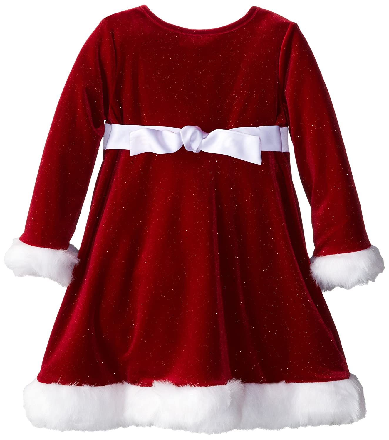 amazoncom bonnie jean little girls sparkle stretch santa dress red 4 clothing - Girl Christmas Dresses