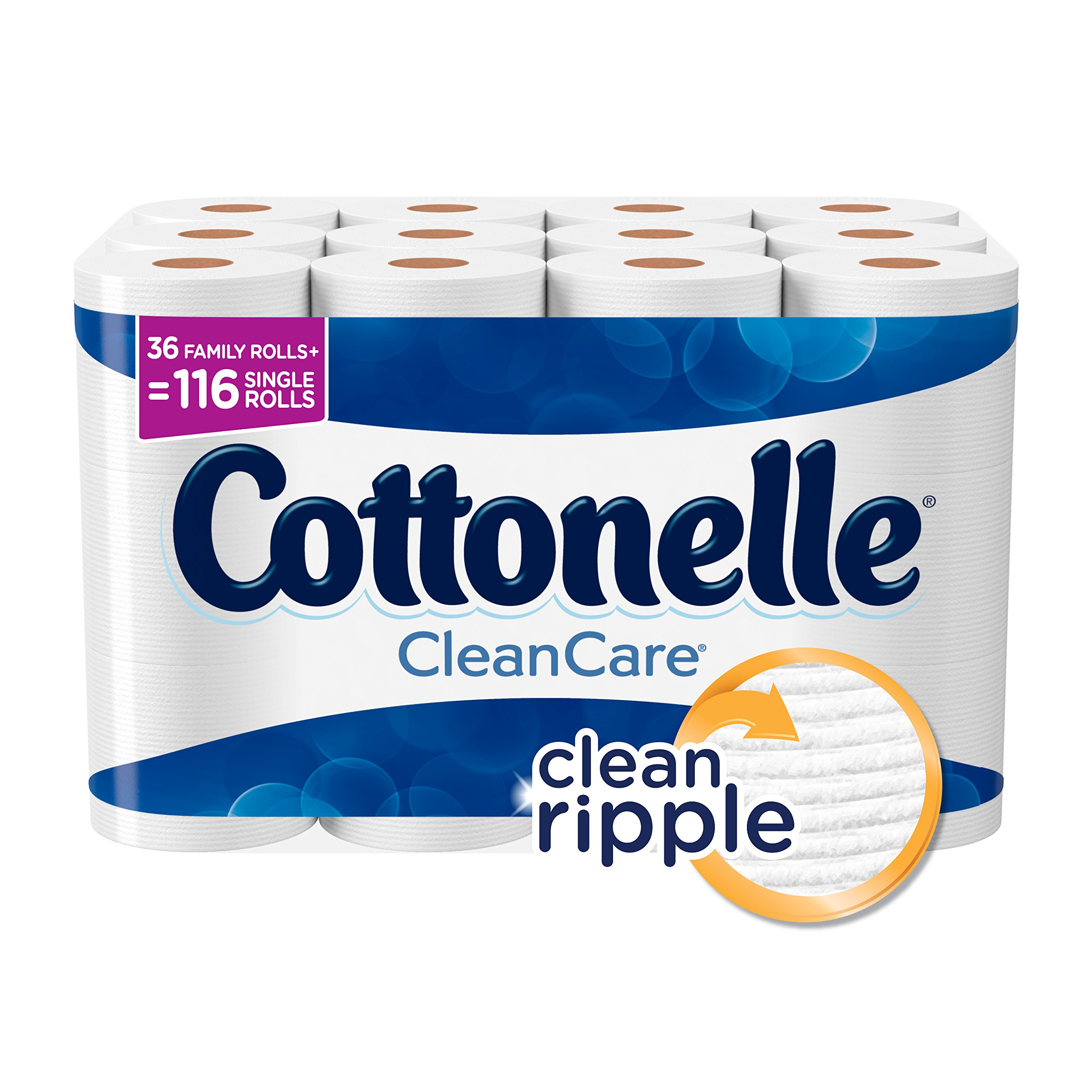 Cottonelle CleanCare Family Roll Toilet Paper (Pack of 36 Rolls), Bath Tissue, Ultra Soft Toilet Paper Rolls with Clean Ripple Texture, Sewer and Septic Safe by Cottonelle