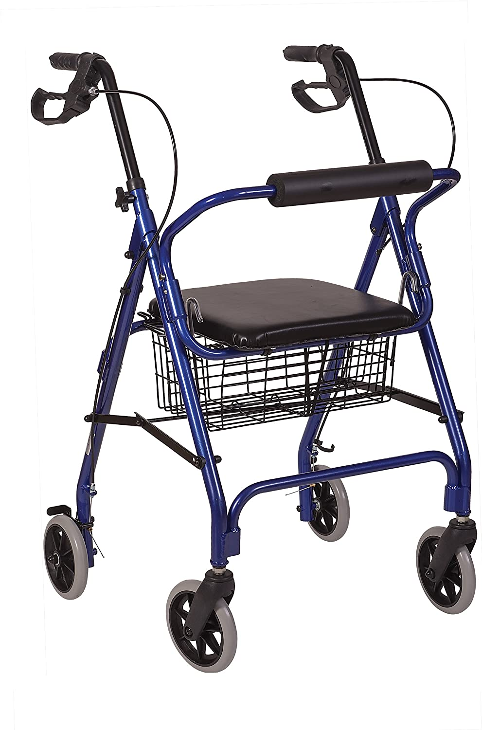 B008KIZ946 HealthSmart Rollator Walker, Adjustable Handle Height Folding Walker, Light Weight Aluminum Walker With Basket, Cushioned Seat and Padded Backrest, 23 x 24 x 30.5 Inches, Royal Blue 81-w3JzcbOL.SL1500_