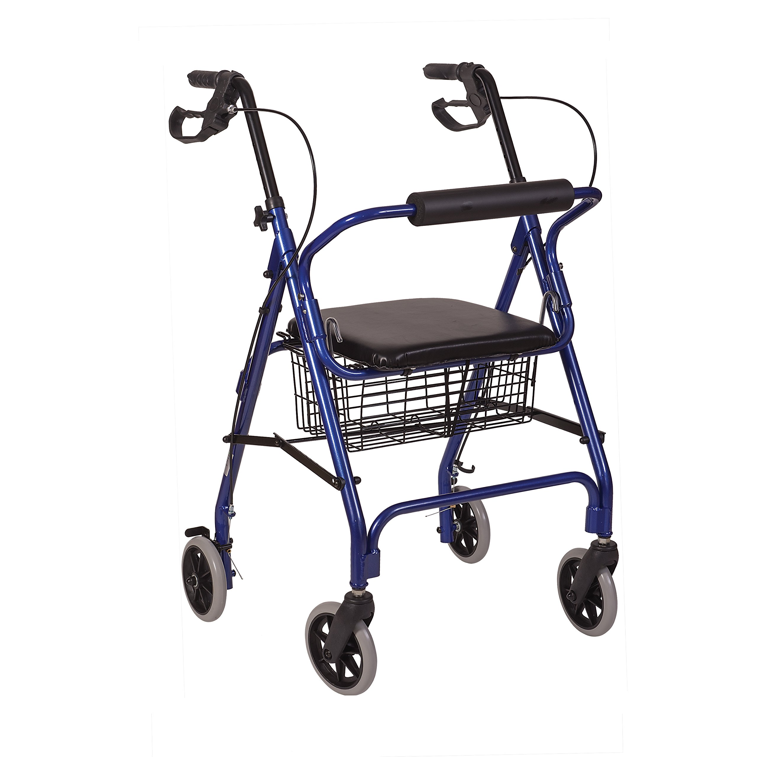 HealthSmart Rollator Walker, Adjustable Handle Height Folding Walker, Light Weight Aluminum Walker With Basket, Cushioned Seat and Padded Backrest, Royal Blue by MABIS DMI Healthcare