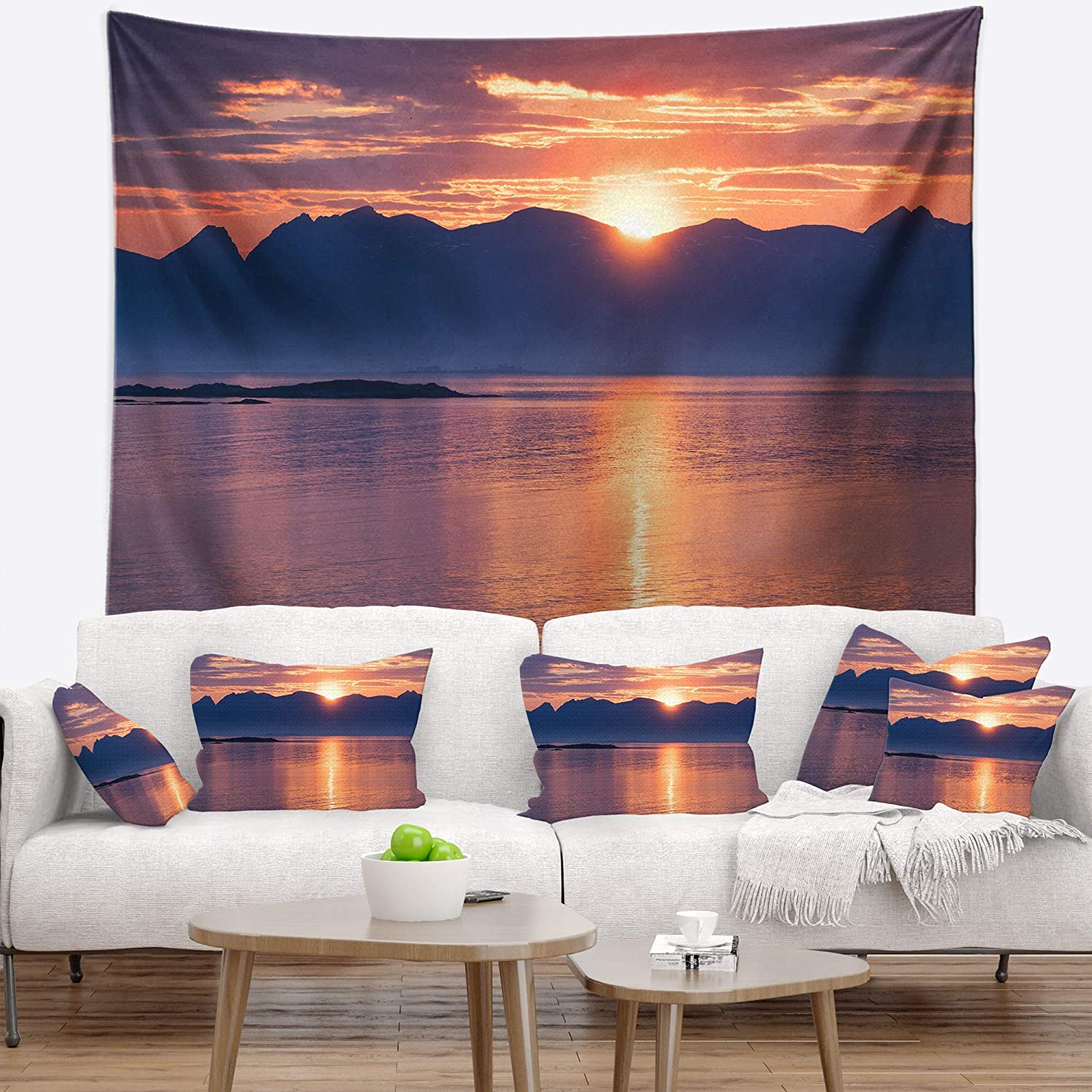 Designart TAP11462-39-32 ' Norwegian Seashore at Sunset' Modern Seascape Blanket Décor Art for Home and Office Wall Tapestry Medium: 39 in. x 32 in. Created On Lightweight Polyester Fabric