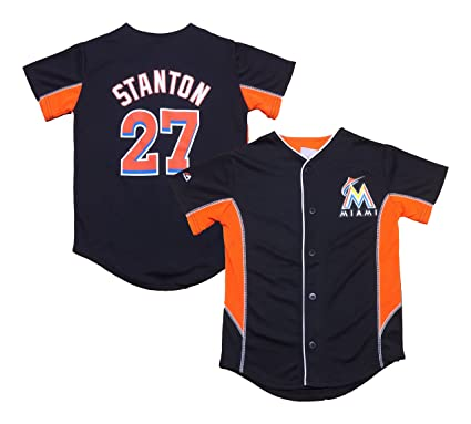 c760bc324 Outerstuff Giancarlo Stanton Miami Marlins Black Youth Team Leader Jersey  (Large 14/16)
