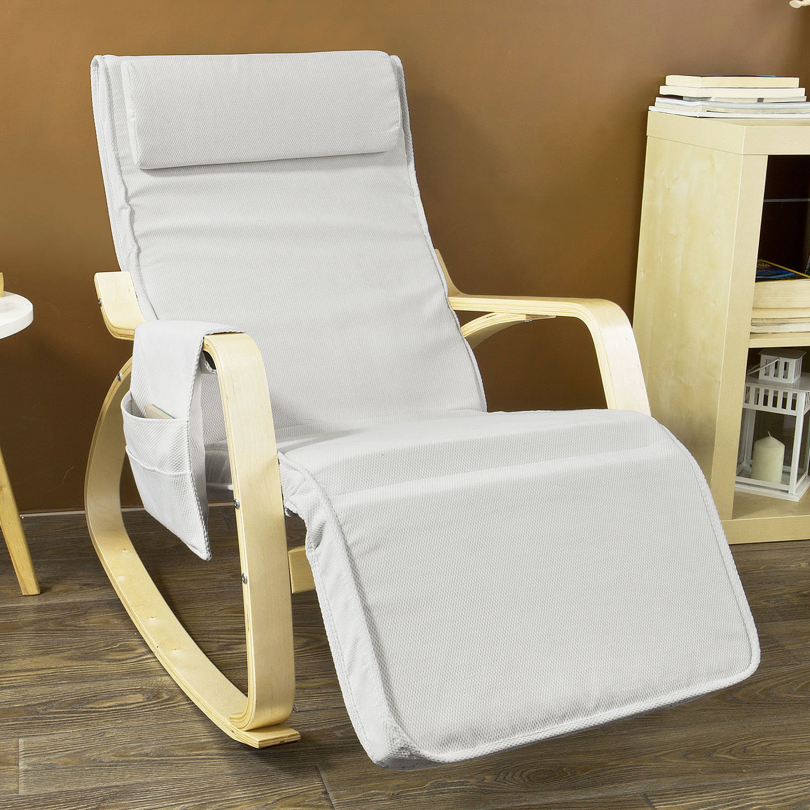 Haotian Comfortable Relax Rocking Chair, Gliders,Lounge Chair Recliners with Adjustable Footrest & Side Pocket,FST18 (FST18-W)