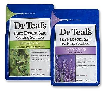 8b42bab75879b Dr Teal's Epsom Salt Bath Soaking Solution, Eucalyptus and Lavender, 2  Count, 3lb Bags - 6lbs Total