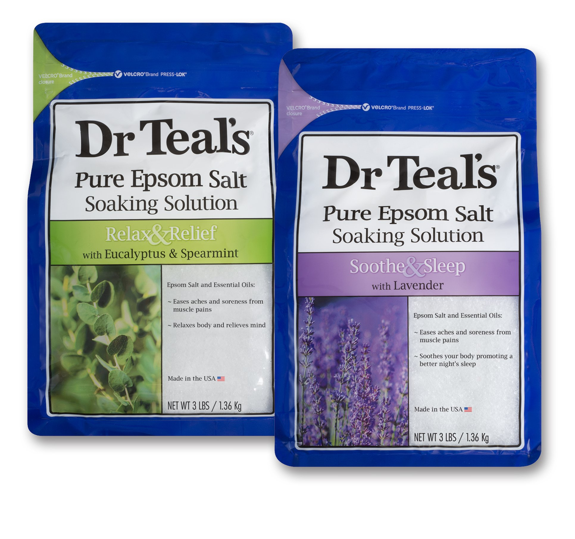 Dr Teal's Epsom Salt Soaking Solution, Eucalyptus and Lavender, 2 Count - 3lb Bags, 6lbs Total