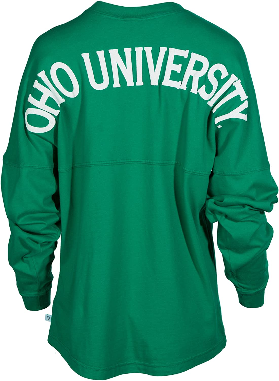 Blend Football Tee Womens Long Sleeve Tri Official NCAA Ohio University Bobcats STAND UP AND CHEER