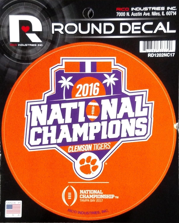 "Clemson Tigers 2016 Champions RCO 4"" Round Flat Vinyl Auto Home Decal University"
