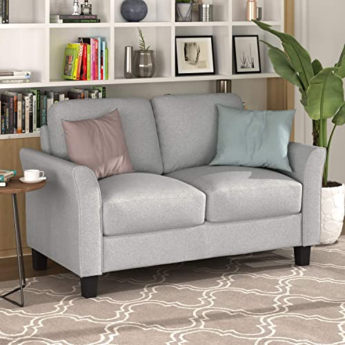 Merax Sofa Couch Loveseat Sofa Sets with Armrest and Plastic Legs for Living Room Furniture loveseat, Light Gray