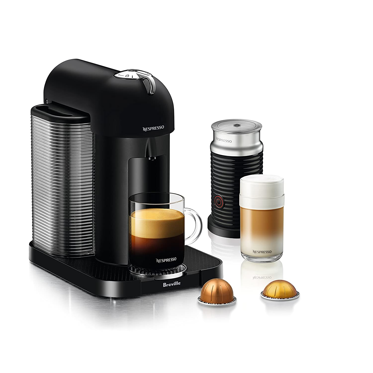 Nespresso Vertuo Coffee and Espresso Machine Bundle with Aeroccino Milk Frother by Breville, Matte Black