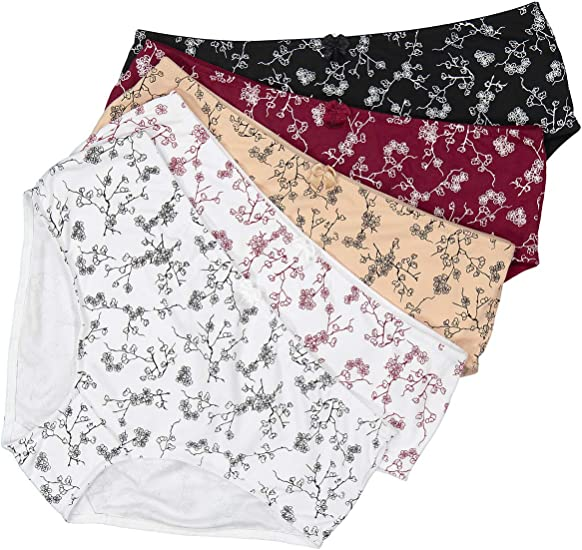 womens 3 pack cotton floral print full briefs 16-18 20-22