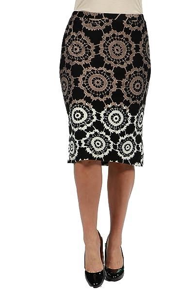 7ec84ea61d 24Seven Comfort Apparel Lexi Black Print Plus Size Pencil Skirt 3XL Print