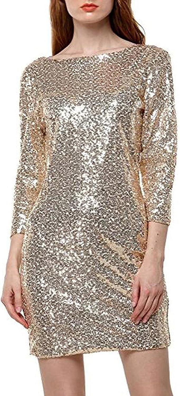 Itsmode Damen Abendkleid Kurz Paillettenkleid Partykleid Spietzen