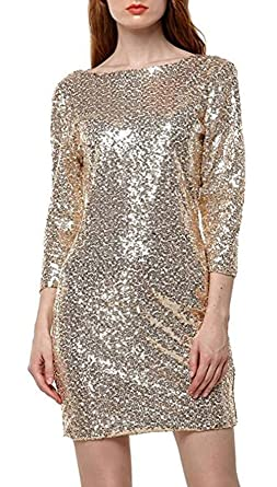 YaoDgFa Damen Paillettenkleid Minikleid Cocktailkleid Abendkleid  Partykleider Etui Kleid mit Pailletten Langarm Rückenfrei Kurz, S 93760af8ee