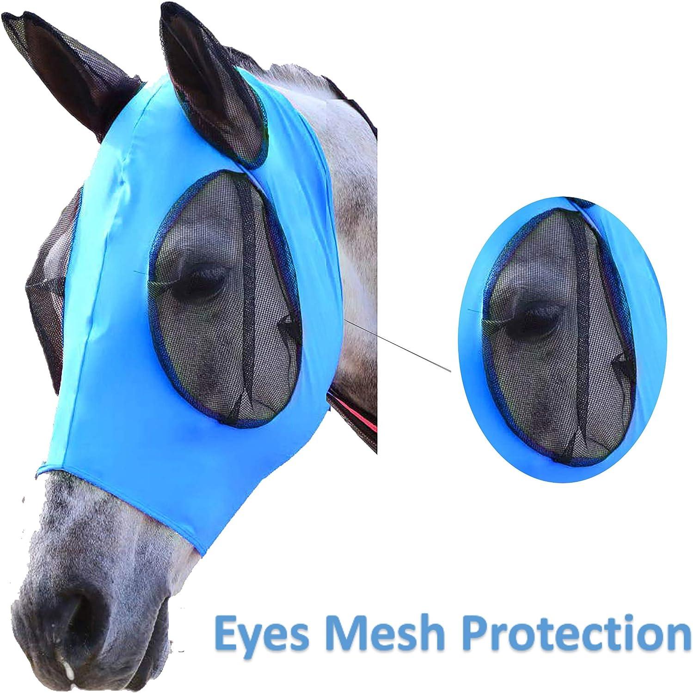 Elastic Fly Mask Lycra Mesh Cover UV-Blocker Ears Eyes Protection for Arab Horse Pony Cob Black//Blue//Pink//Purple Riding