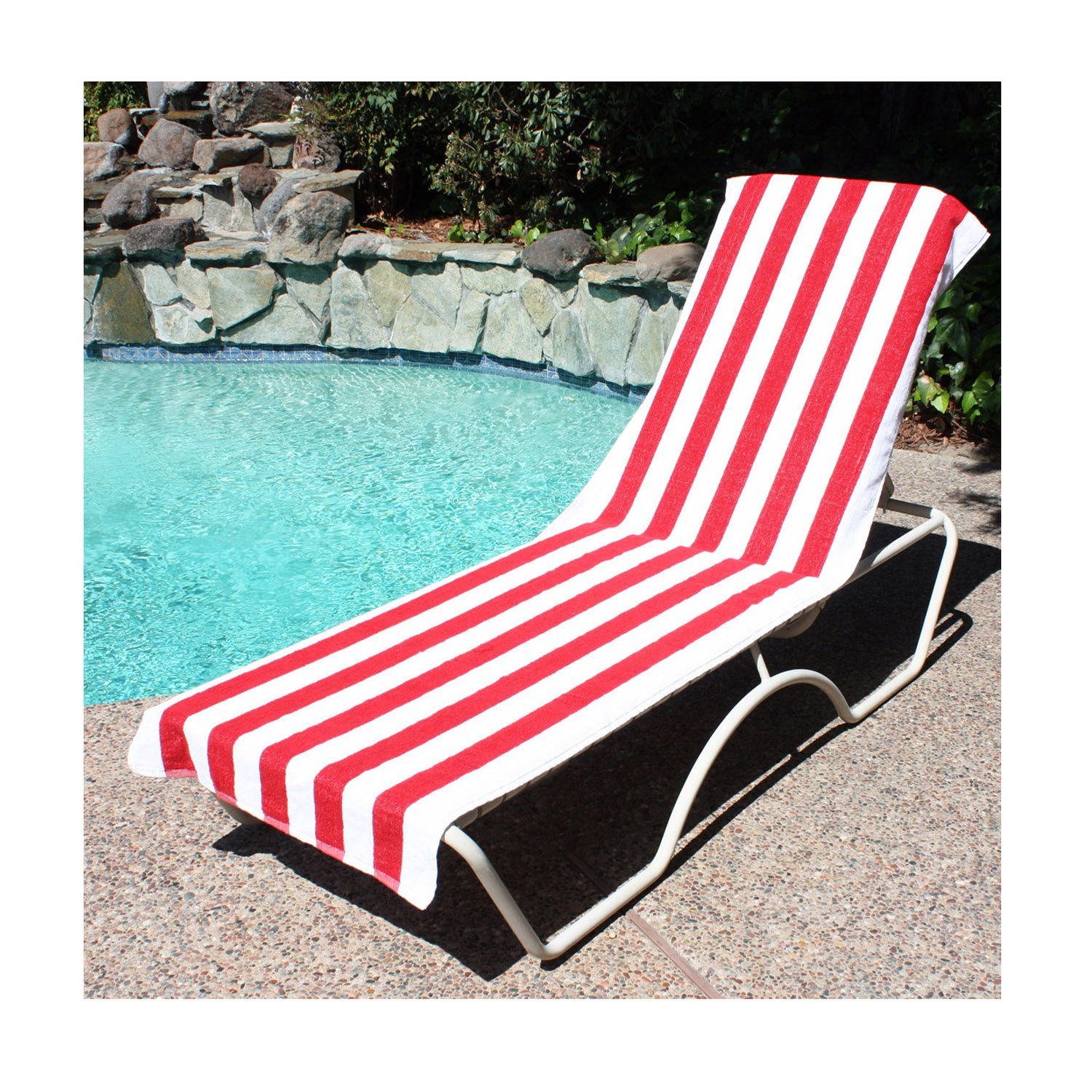 Amazon.com J u0026 M Home Fashions Lounge Chair Beach Towel With Fitted Pocket Top 26 by 82-Inch Red Home u0026 Kitchen  sc 1 st  Amazon.com : chaise lounge towels fitted - Sectionals, Sofas & Couches