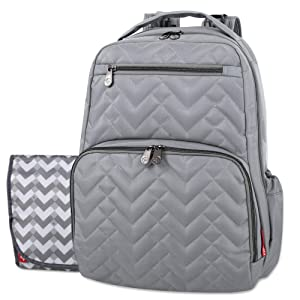 Fisher Price Diaper Bag Backpack - Signature Collection, with Cell Phone and Tablet Pockets and Stroller Clips (Gray)