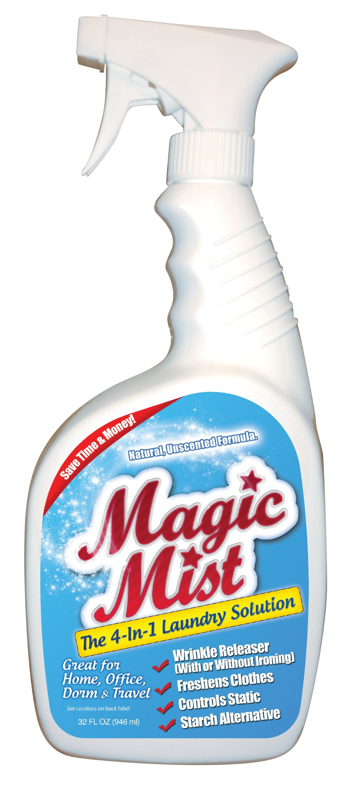 Magic Mist - All Natural - Clear - 32 Oz - Wrinkle Releaser, Odor Neutralizer, Controls Static, Starch Alternative