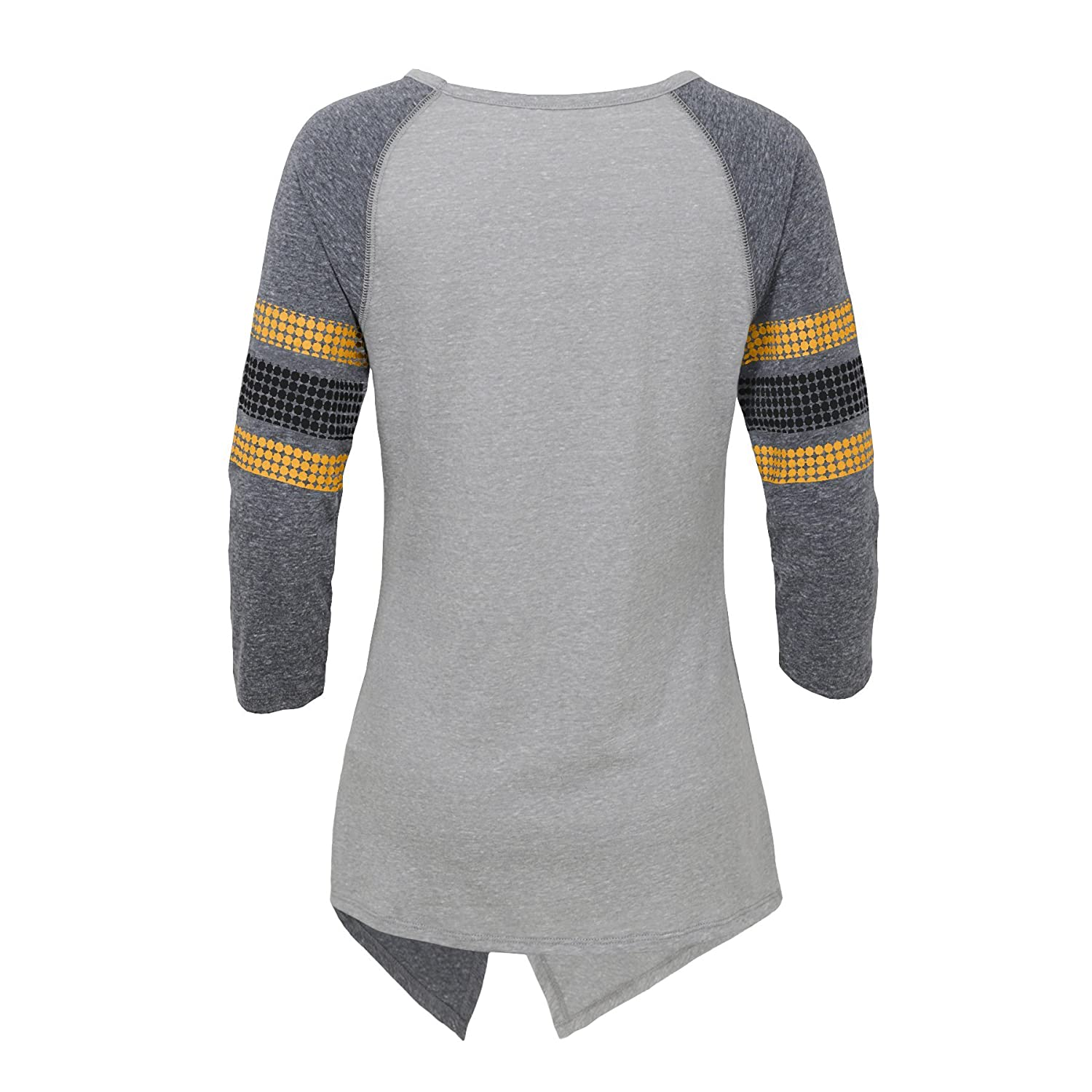 Heather Grey Juniors X-Large 15-17 Outerstuff NFL Pittsburgh Steelers Juniors Lavish Crossover Asymmetric Hem Top