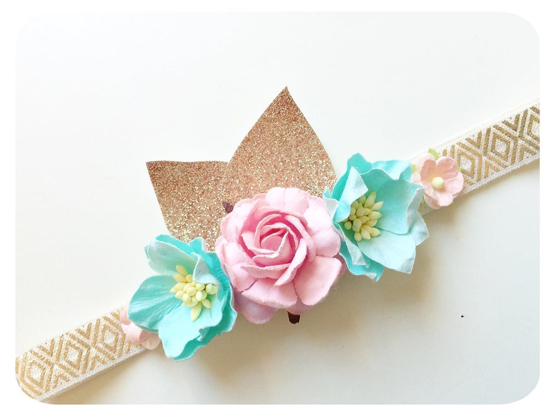 Amazon Baby Girl Headband Gold Headband Pink Flower Crown Baby