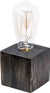Real Wood Industrial Table Lamp - Vintage Minimal Style - Free Bulb Included - Dark Brown