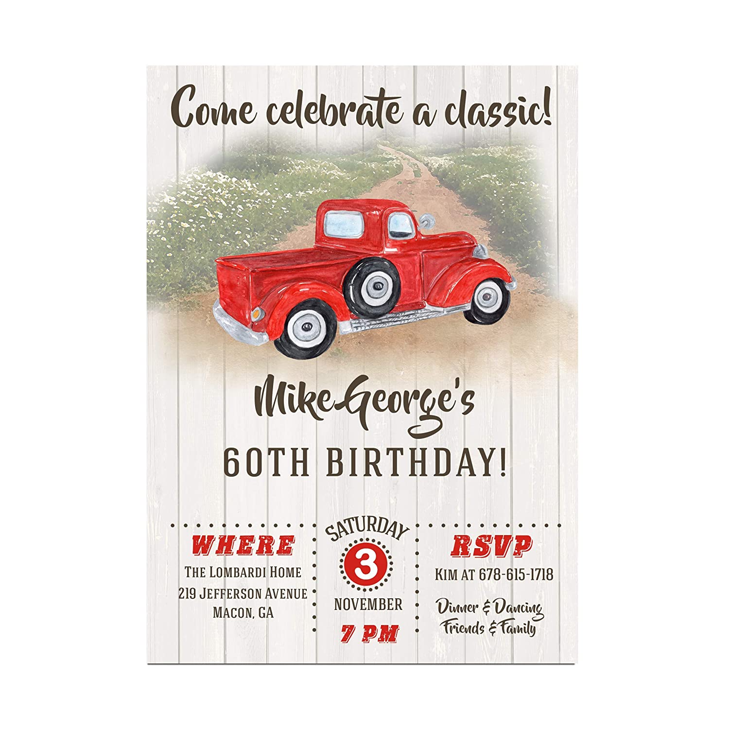 Amazon.com: Vintage Truck Adult Masculine Birthday Party Invitations ...