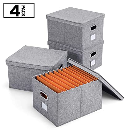 Amazon com : Magicfly Collapsible File Box with Lid and