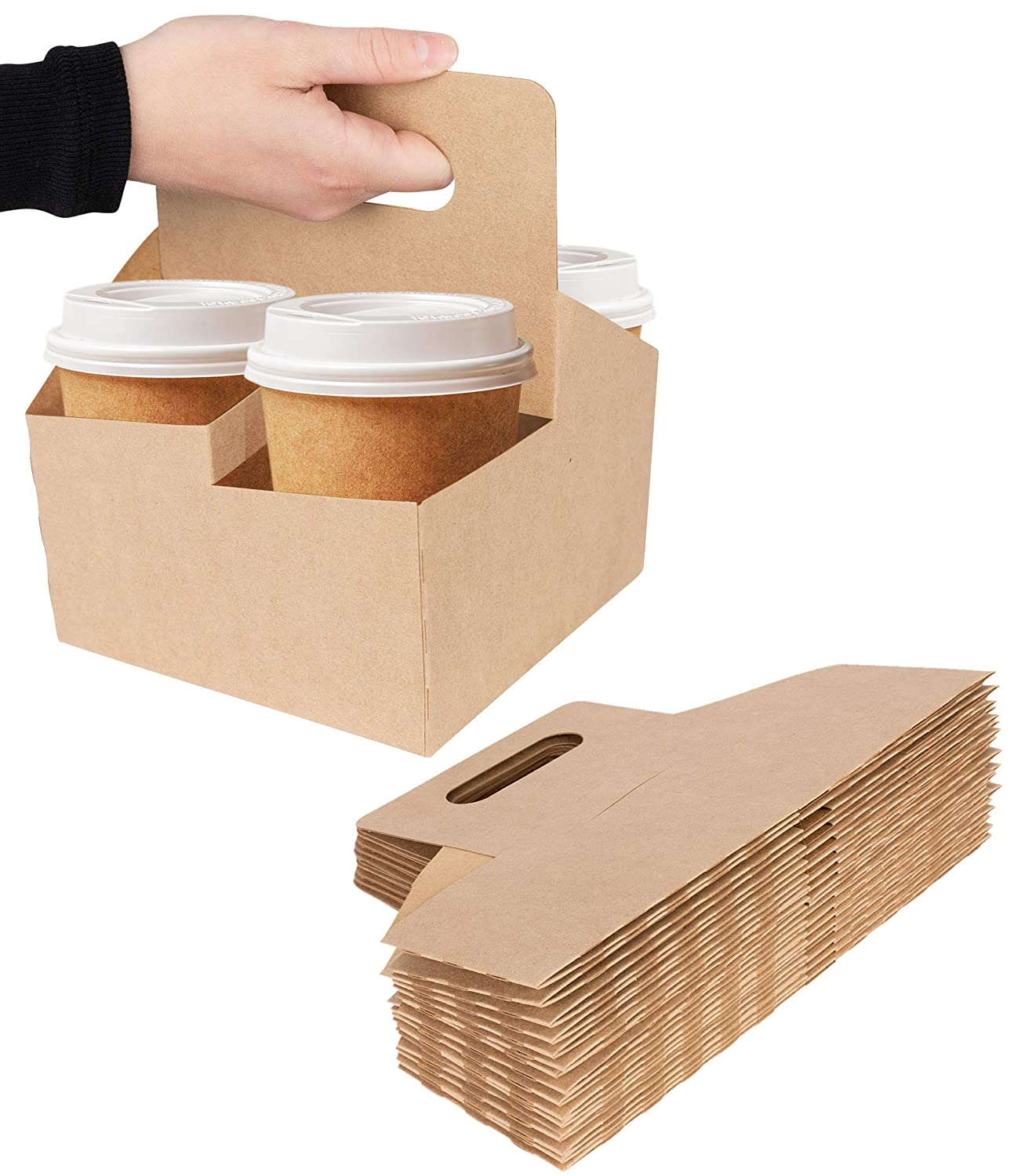 4 Cup Disposable Drink Carrier with Handle (15 Count) - Kraft Paperboard Cup Holder - Disposable Cup Holder for Hot or Cold Drinks - to Go Coffee Cup Holder for Food Delivery Service, Uber Eats