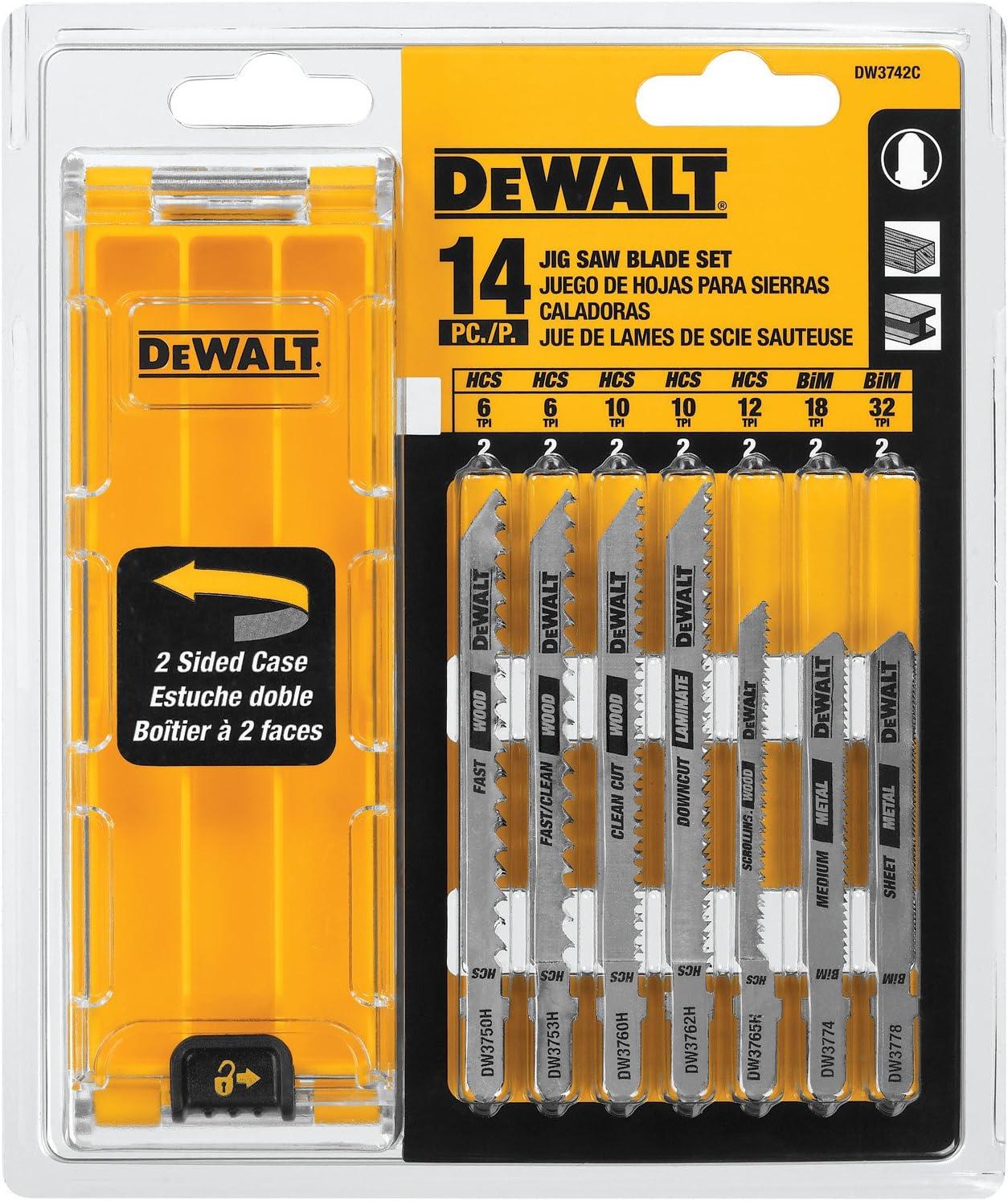 2. DEWALT DW3742C 14 Piece T-Shank Jigsaw Blade Kit
