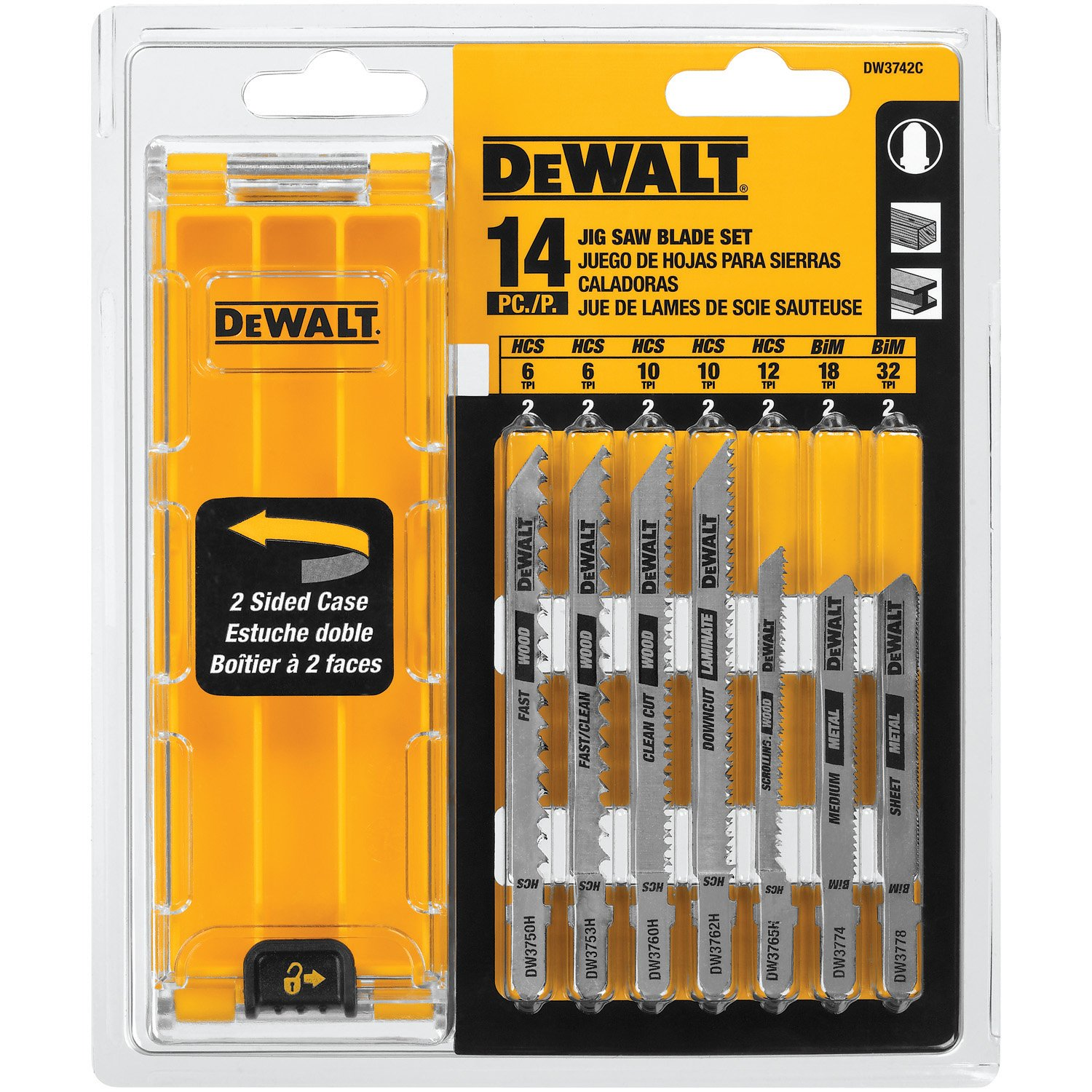 DEWALT DW3742C 14-Piece T-Shank Jig Saw Blade Set with Case