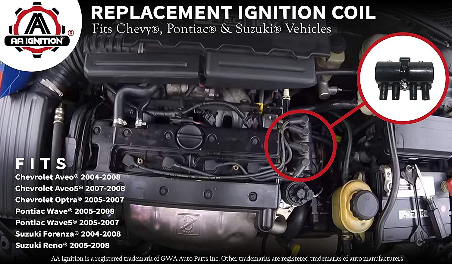 Amazon.com: Ignition Coil Pack Replacement - Compatible with Chevrolet,  Pontiac, Suzuki Vehicles - Aveo, Aveo5, Optra, Wave, Wave5, Forenza, Reno -  Replaces Part 25182496, 96253555, 33410-84Z01: Automotive | 2004 Chevy Aveo Engine Diagram |  | Amazon.com