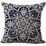 Blue and White Porcelain Chair Back Cushion Cover Linen Throw Pillow Case Cotton Pillowslip Square Decorative Pillowcase For Bed Dining Room Floral 18 X 18''