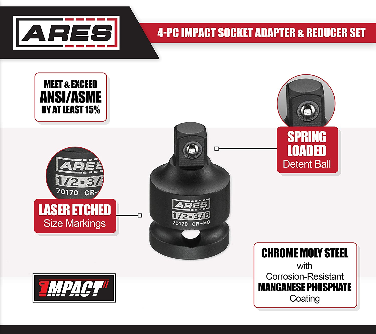 ARES 70169-3//8-inch F to 1//2-inch M Impact Socket Adapter Chrome-Molybdenum Steel Construction Exceeds ANSI Standards and Ensures Life Time Use