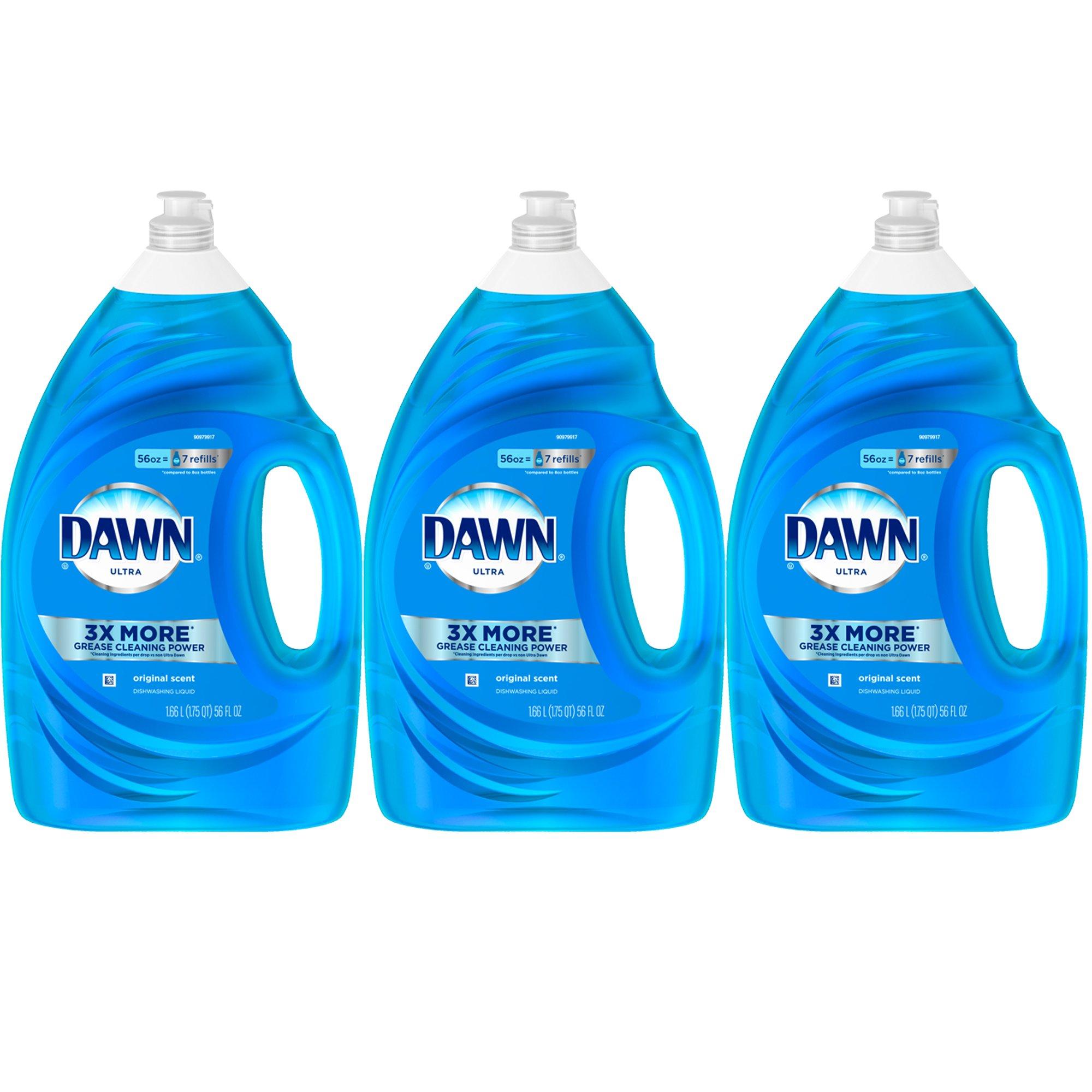 Dawn Dish Soap, Ultra Dishwashing Liquid, Original Scent, 56 fl oz, 3-Pack
