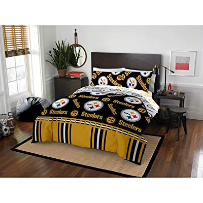 MISC 5 Piece Steelers Comforter & Sheets Set Full Queen, Football Sports Bedding for Boys Kids Bedroom Team Logo Printed Collegiate Pattern Home Decor Game Fans Gift Super Soft Cozy Quality Polyester: Home & Kitchen