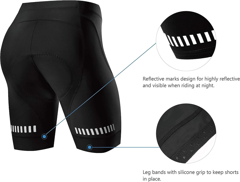 NOOYME 3D pantaloni da ciclismo da donna imbottiti ad asciugatura rapida elasticizzati con seduta imbottita con imbottitura pi/ù ampia e spessa