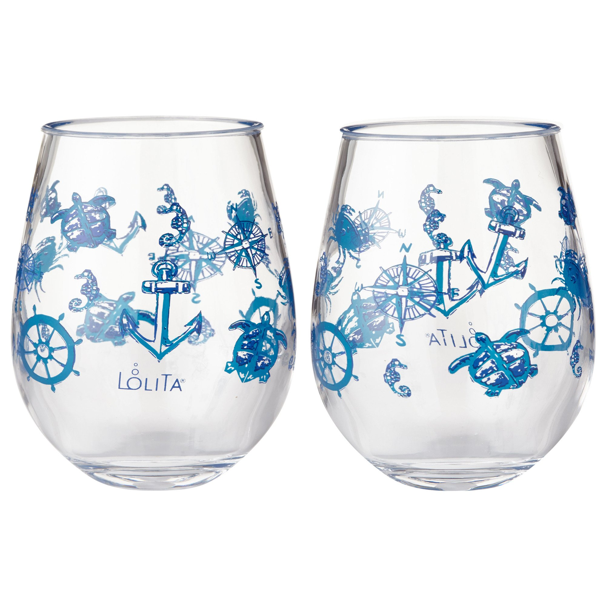 Enesco Designs by Lolita Set Sail Acrylic Stemless Wine Glasses, Set of 2, 17 oz.