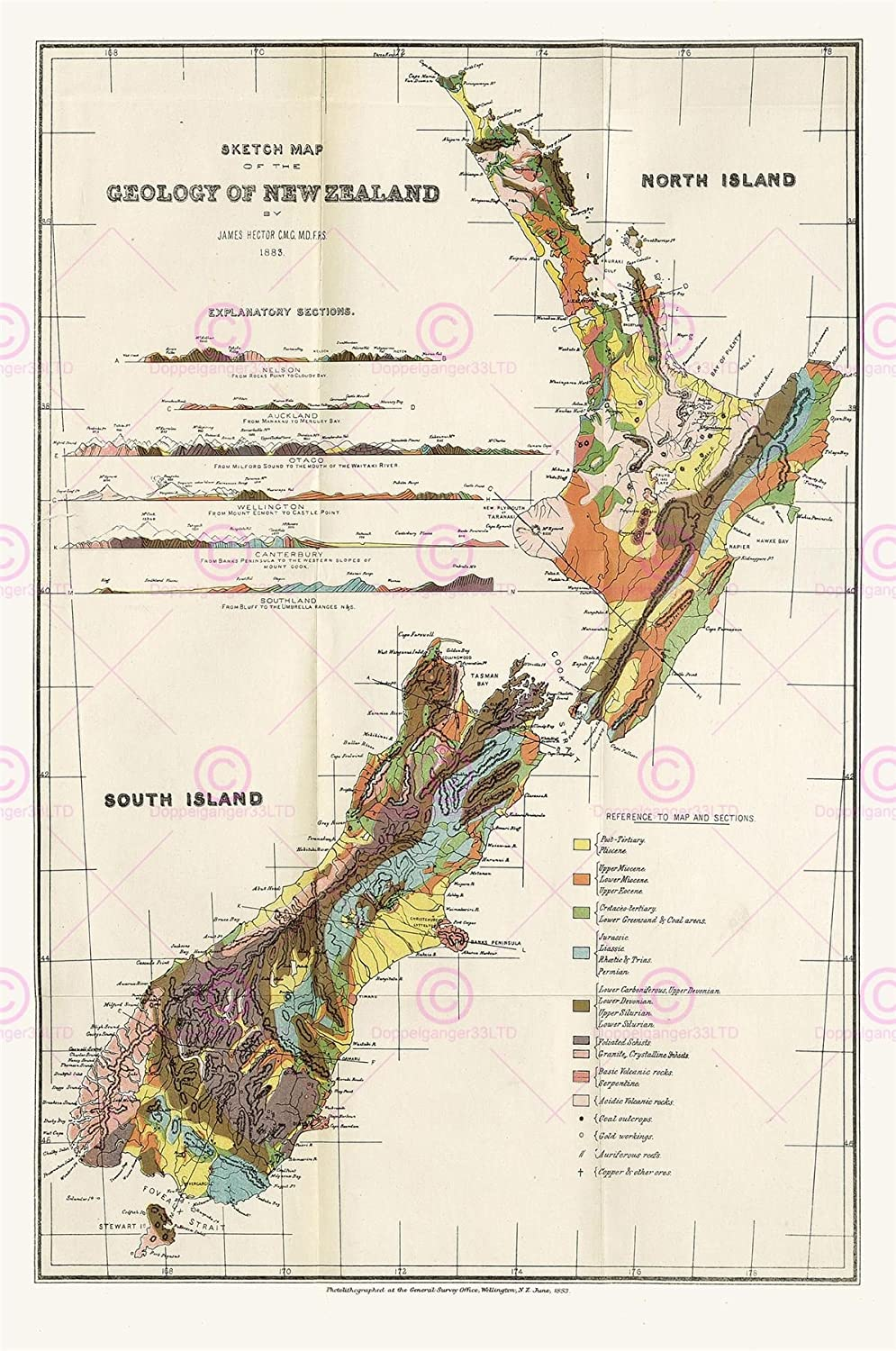 Map Of Canterbury New Zealand.Map 1883 Hector Sketch New Zealand Geology Large Art Print Lf872