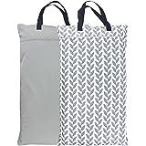 Wegreeco Reusable Hanging Wet Dry Cloth Diaper Bag (2 Pack, Grey Leaf, Grey)