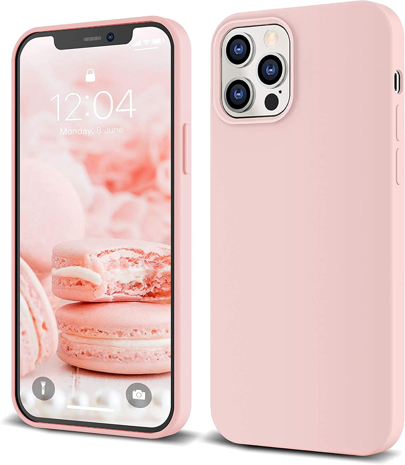 """IceSword iPhone 12 Pro Max Case 6.7"""" (2020) Pink Sand, Thin Liquid Silicone Case, Soft Silk Microfiber Cloth, Matte Pure Cute Pink, Gel Rubber Full Body, Protective Shockproof Pro Max 6.7"""