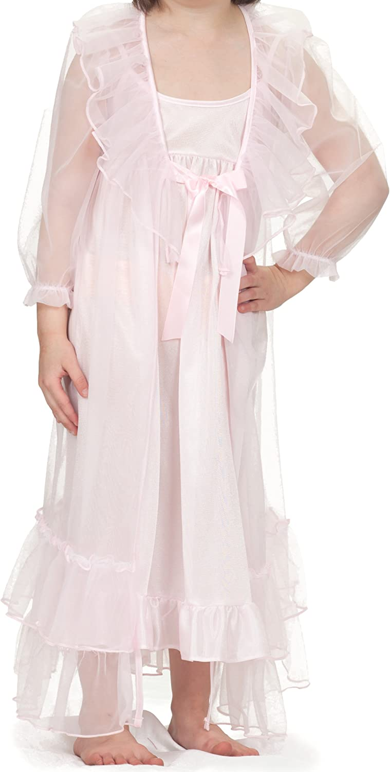 Laura Dare Frilly Fuchsia Nightgown and Robe Peignoir Set