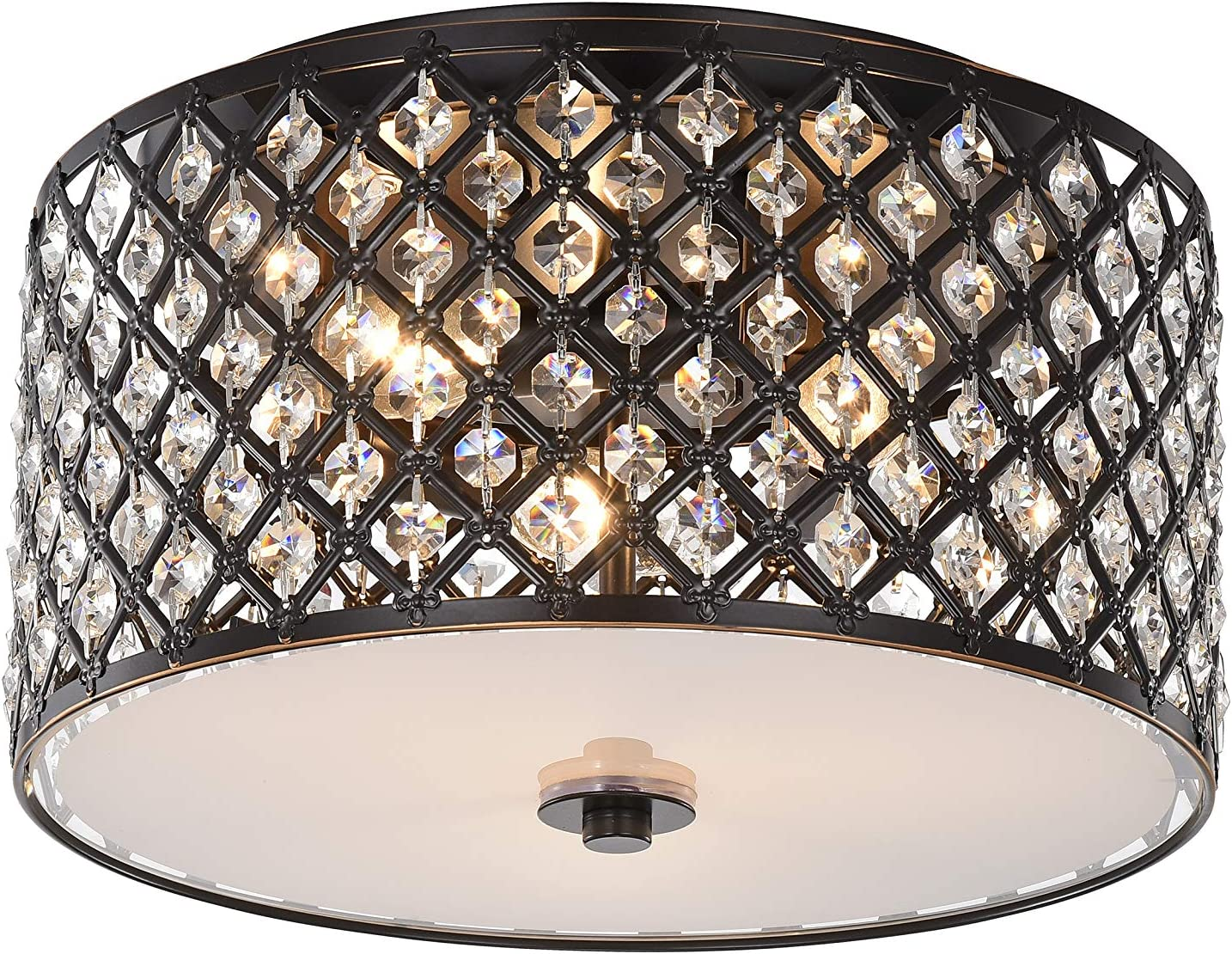 Chandeliers Crystal Chandelier Antique Bronze Flush Mount Light Fixture 3 Light Ceiling Lights