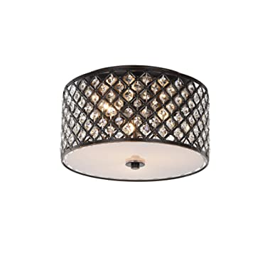 Chandeliers Crystal Chandelier Antique Bronze Flush Mount Light Fixture 3 Light Ceiling Lights