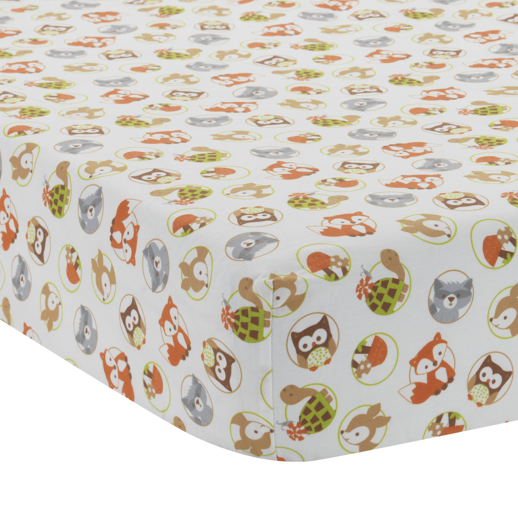 Bedtime Originals Friendly Forest Woodland Fitted Crib Sheet, Green/Brown/White