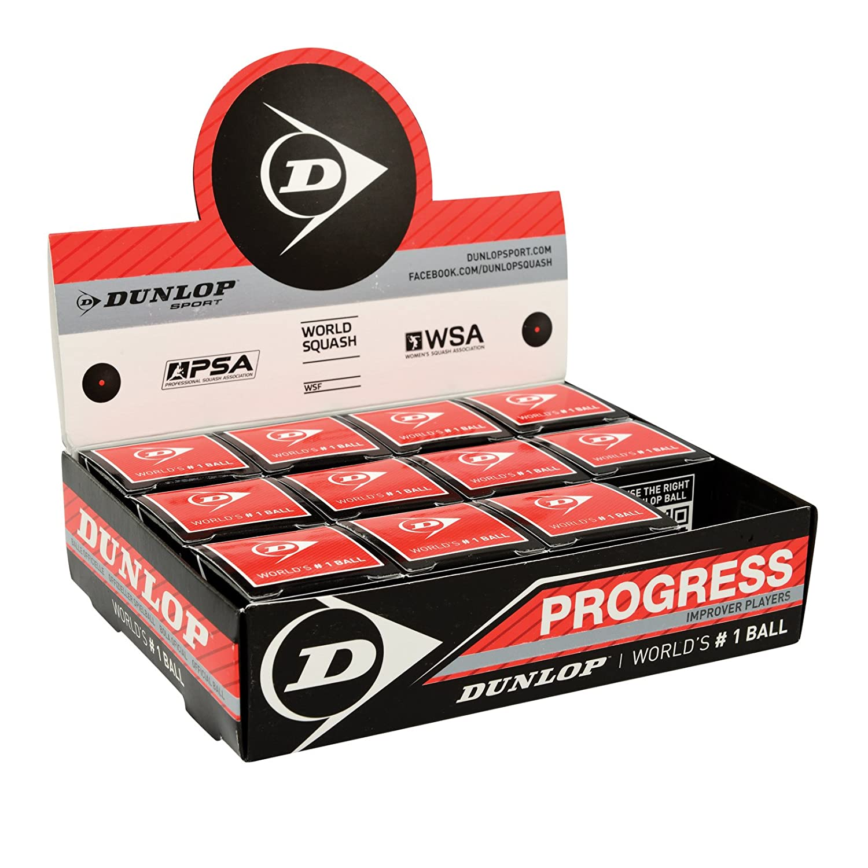 Dunlop Bolas Squash PROGRESS (Punto rojo) Cj 12 SQBAC