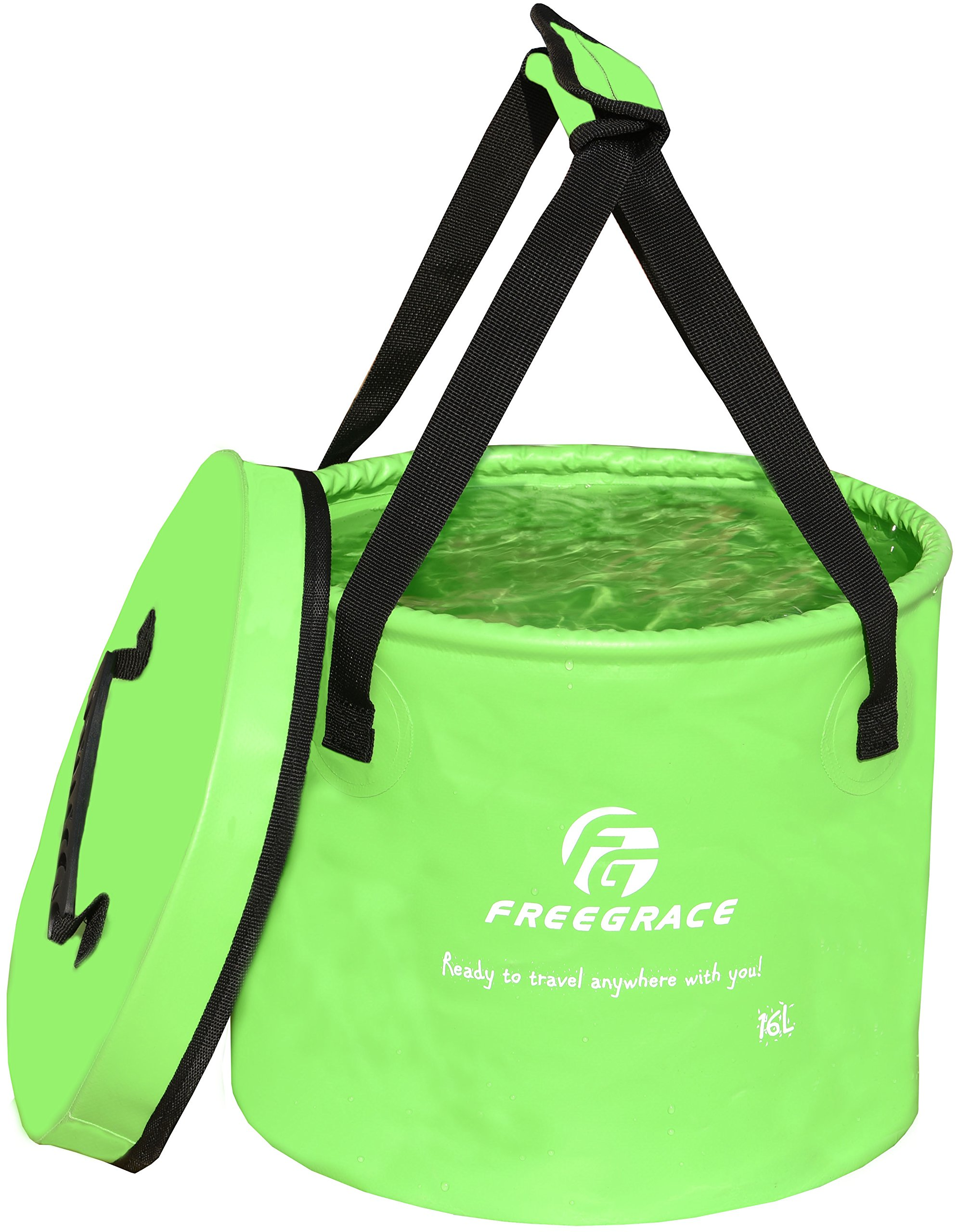 Freegrace Premium Compact Collapsible Bucket Portable Folding Water Container - Lightweight & Durable - Includes Mesh Pocket - Available in Multiple Colors & Sizes (Green, 10L (Lid)) by Freegrace