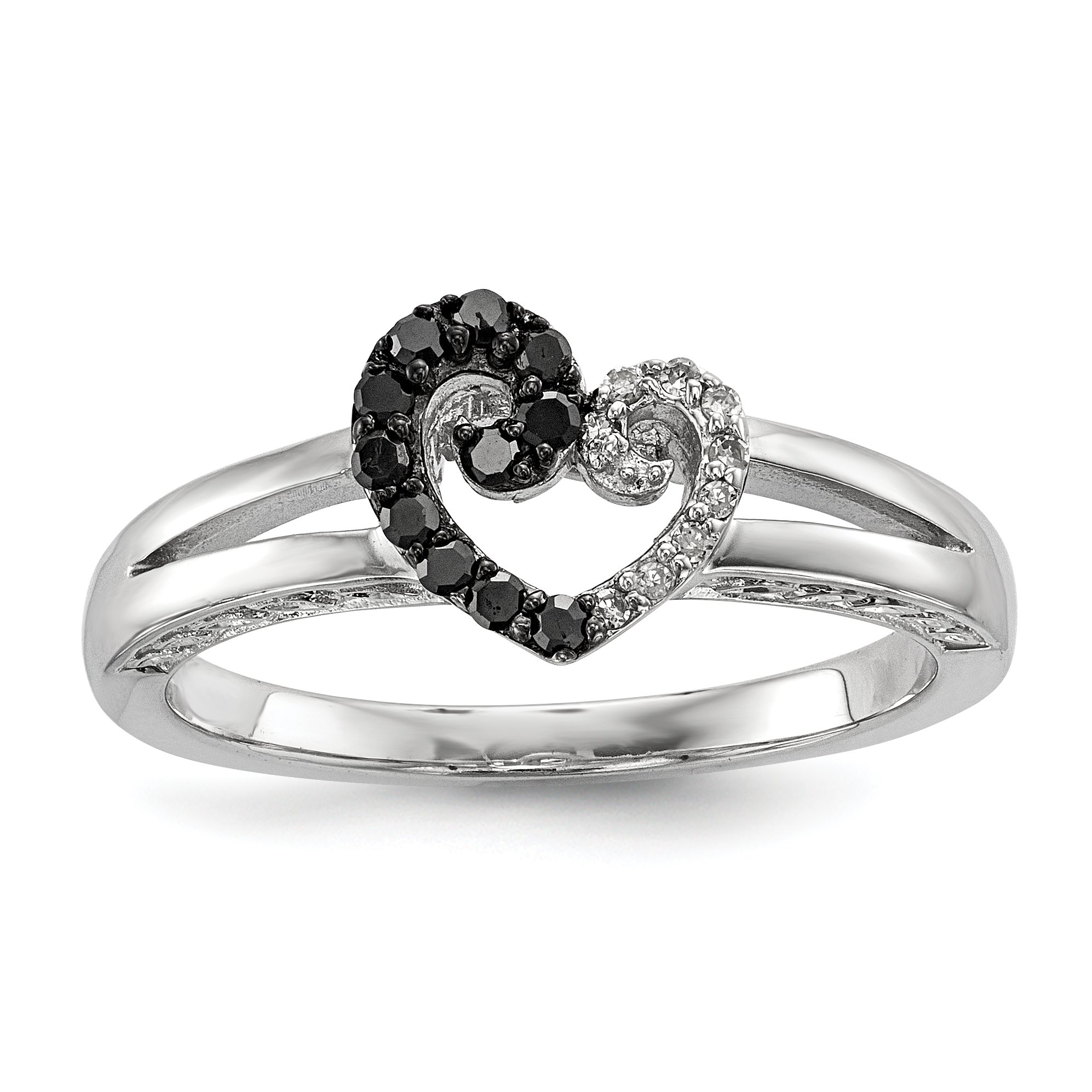 ICE CARATS 925 Sterling Silver White Black Diamond Heart Band Ring Size 7.00 S/love Fine Jewelry Gift Set For Women Heart